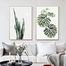 2 Stuecke Leinwandbild mit Pflanzen Muster ohne Rahmen
