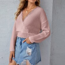Surplice Neck Lace Trim Drop Shoulder Crop Sweater