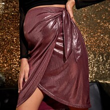 Maternidad falda de color metalico con cordon lateral