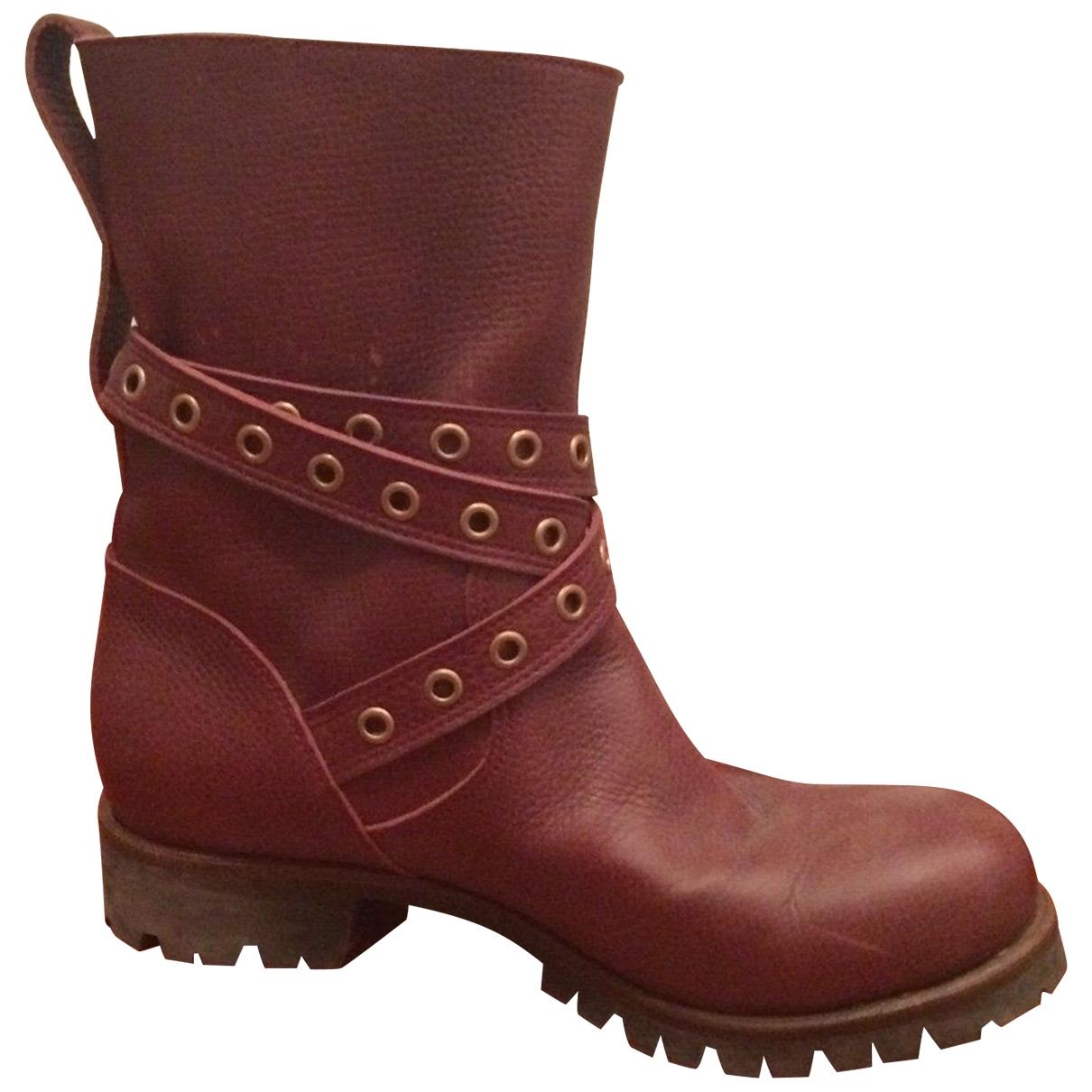 Sergio Rossi - Boots   pour femme en cuir - bordeaux