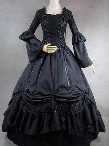 Milanoo Disfraz Halloween Encaje negro victoriano trompeta de volantes en capas de manga trajes Retro Halloween