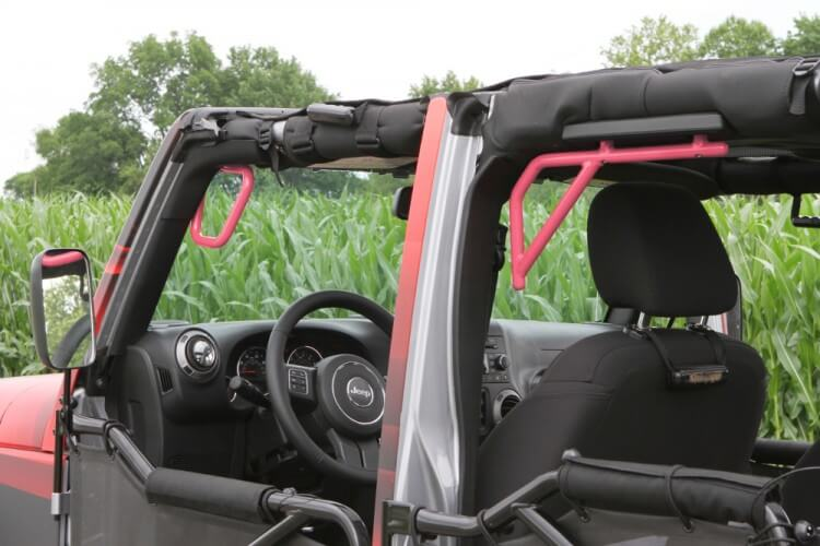 Steinjager J0041255 Grab Handle Kit Wrangler JK 2007-2018 Rigid Design Front and Rear for 4 Door JKU Pinky
