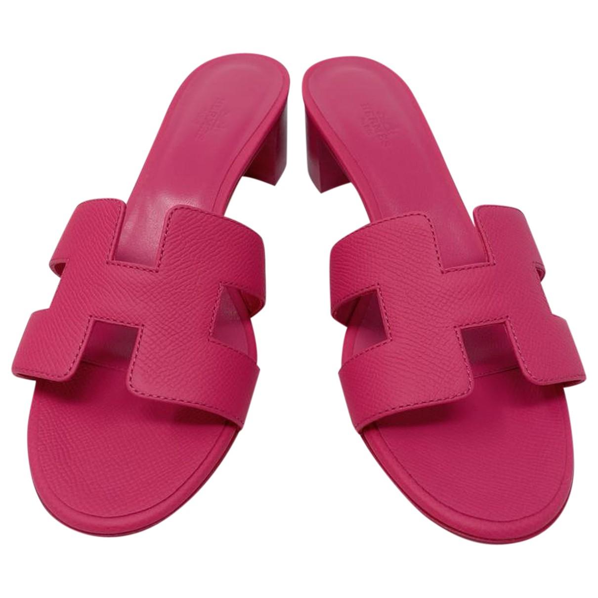 Hermes - Sandales Oasis pour femme en cuir - rose