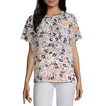 Liz Claiborne Short Sleeve Blouse - Tall, Large Tall , White