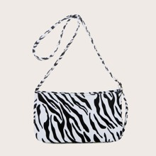 Zebra Striped Pattern Baguette Bag
