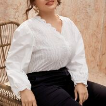 Plus Eyelet Embroidery Scallop Trim Blouse