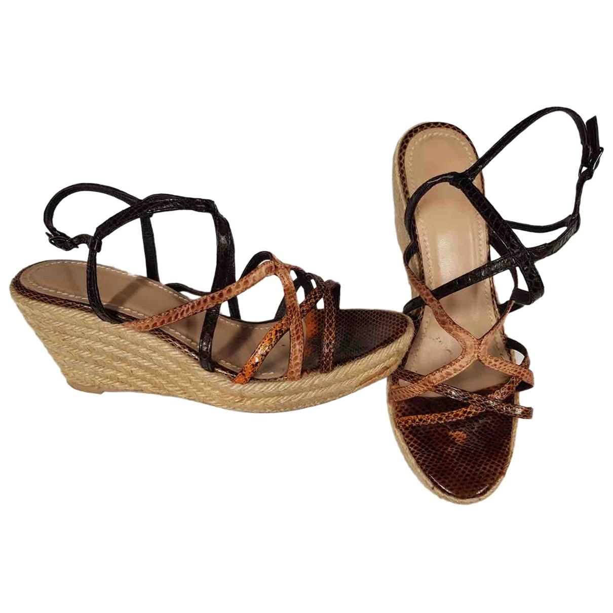 Maliparmi - Sandales   pour femme en lezard - marron