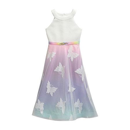 Emily West Big Girls Embellished Sleeveless Ombre Maxi Dress, 16 , Multiple Colors