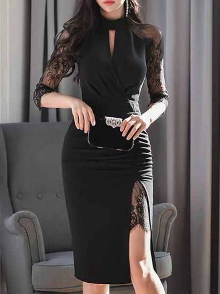 Milanoo Vestidos ajustados Cuello alto negro Encaje en capas Sexy 3/4 Longitud Mangas Vestido de lapiz