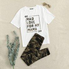 Slogan Graphic Top & Camo Leggings Set