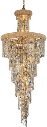 V1800SR30G/EC 1800 Spiral Collection Chandelier D:30In H:72In Lt:28 Gold Finish (Elegant Cut