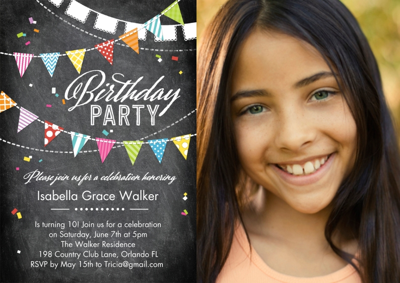 Kids Birthday Party Invites 5x7 Cards, Premium Cardstock 120lb with Rounded Corners, Card & Stationery -Birthday PartyFlags