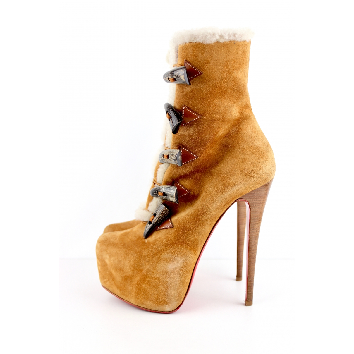 Christian Louboutin \N Camel Suede Ankle boots for Women 38 EU