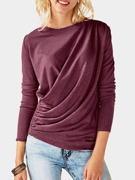 Yoins Fuchsia Pleated Design Plain Crew Neck Long Sleeves T-shirts