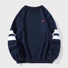 Sweatshirt mit Uni Streifen und Kirsche Stickereien