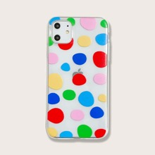 1pc Colorblock Geometric Print iPhone Case