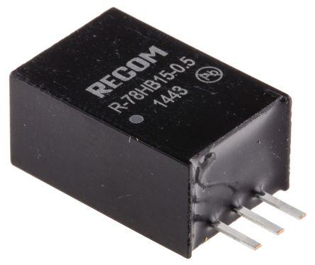 Recom Through Hole Switching Regulator, 15V dc Output Voltage, 20 → 72V dc Input Voltage, 500mA Output Current
