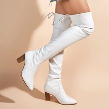 Point Toe Chunky Thigh High Boots