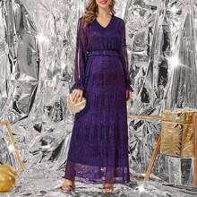 Glitter Split Sleeve Ruffle Trim A-line Dress