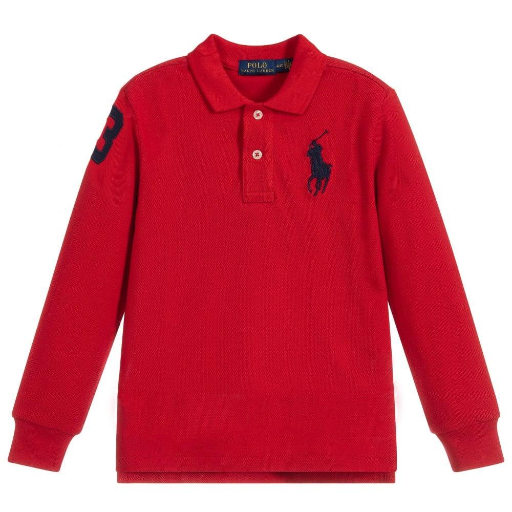 Ralph Lauren Red Cotton Pique Polo L/s Size: L (14-16 YEARS), Colour: RED