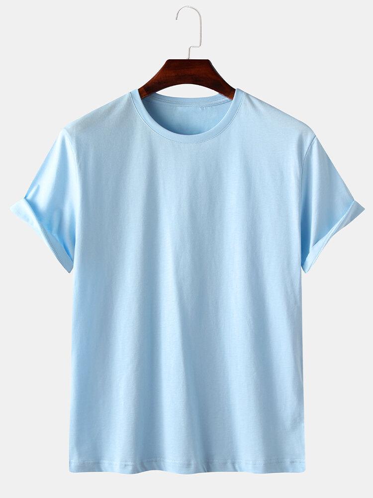 Mens 5 Color 100% Cotton Solid Pure Color Short Sleeve Base T-Shirt