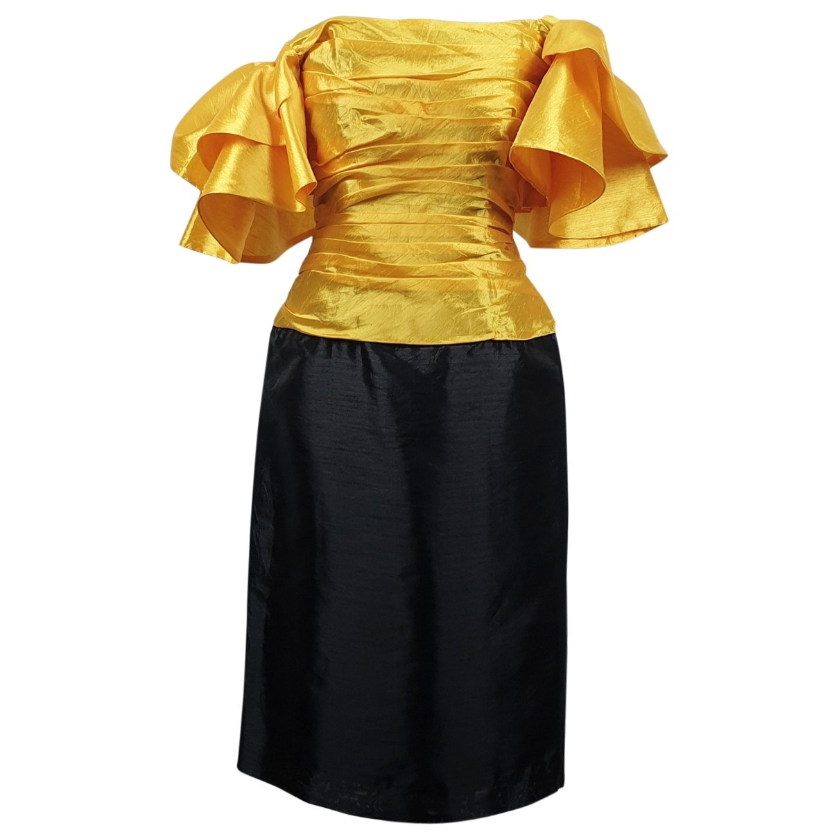 Non Signé / Unsigned Manche ballon Yellow dress for Women 6 US