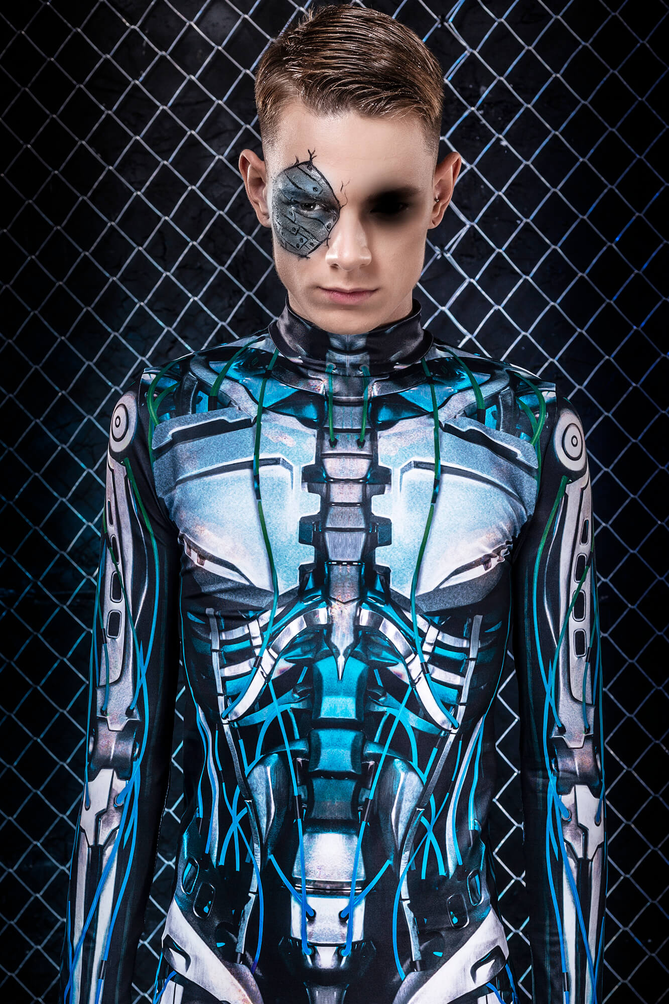 Halloween Costumes for Men - Male Cyberpunk Robot Halloween Costume Mens - Glow in the Dark