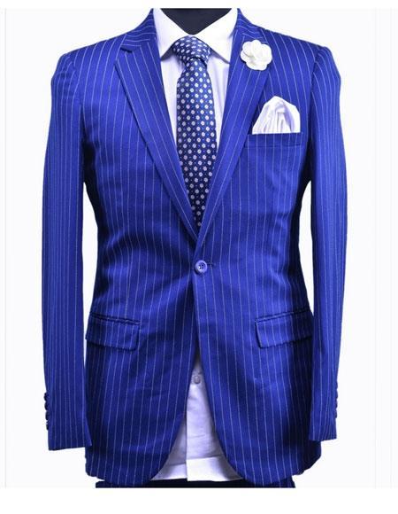 Mens Royal ~ Indigo ~ Cobalt New Blue 1 Button Stripe Suit