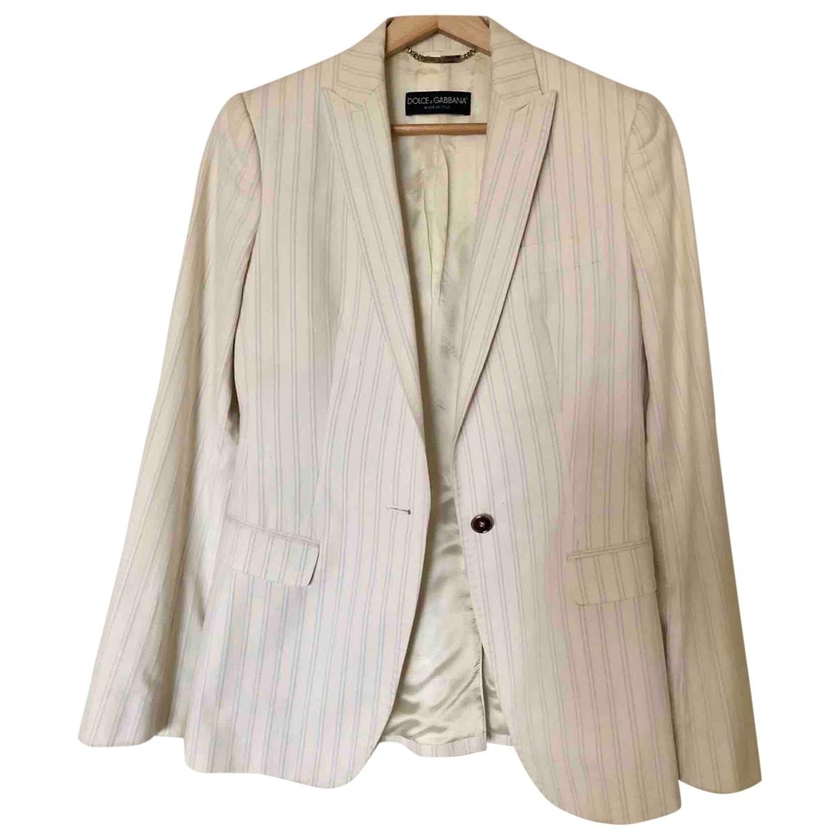 Dolce & Gabbana - Veste   pour femme en coton - blanc