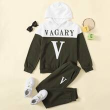 Boys Two Tone Letter Graphic Hoodie & Sweatpants Set