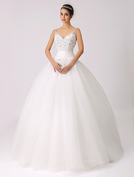 Milanoo Spaghetti Straps Princess Wedding Dress with Beaded Lace Applique
