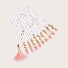 10 piezas set de cepillo de maquillaje en forma de abanico duo-fibra