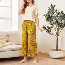 Solid Top & Floral Print Pants PJ Set