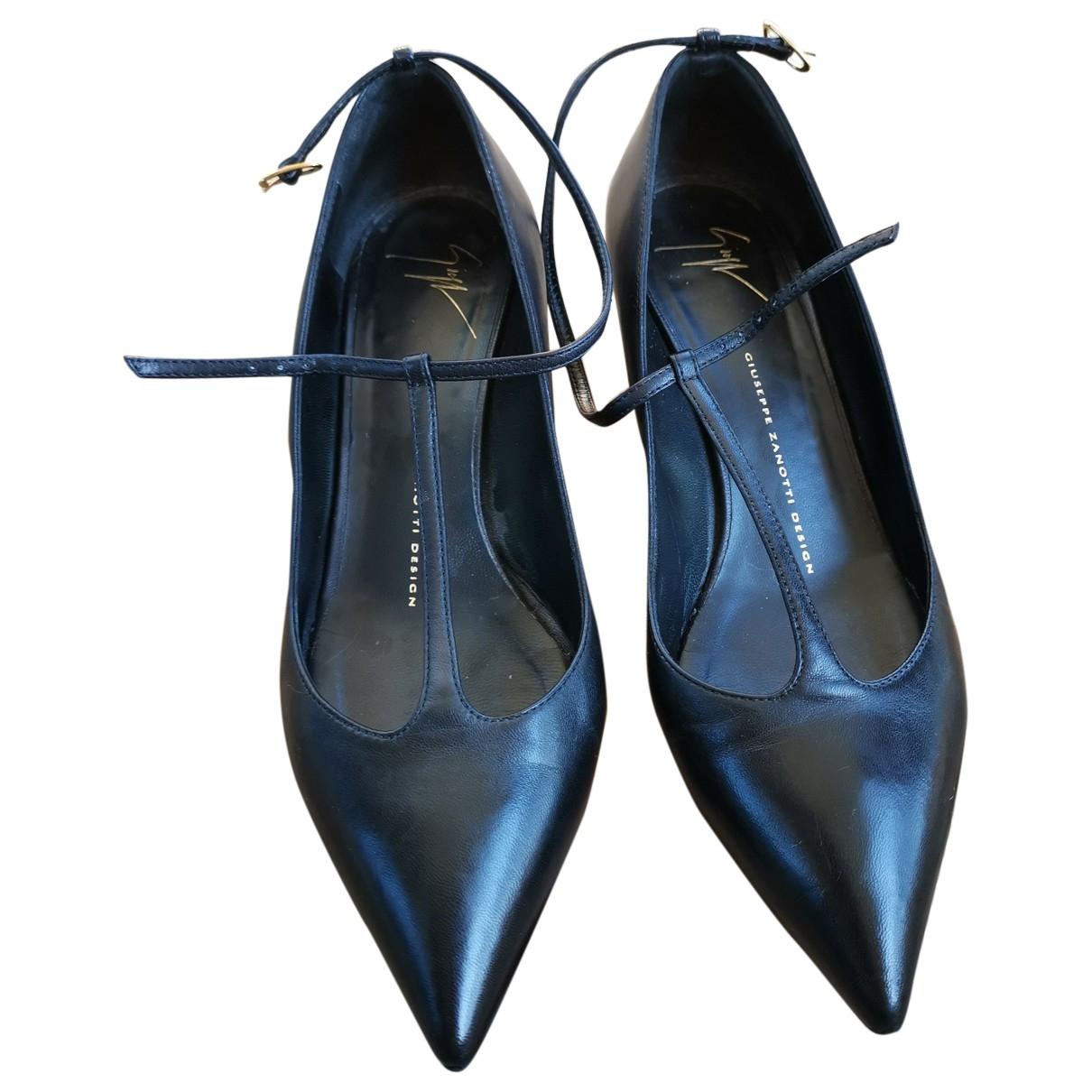 Giuseppe Zanotti \N Black Leather Heels for Women 38.5 EU