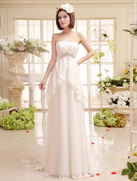 Milanoo Court Train Ivory Bridal Wedding Gown With Strapless Peplum Chiffon