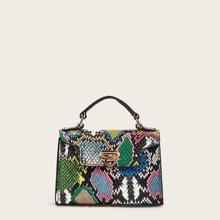 Bolsa cartera con solapa con estampado de piel de serpiente con correa de cadena