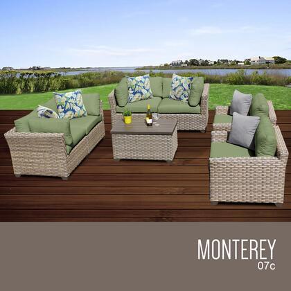 MONTEREY-07c-CILANTRO Monterey 7 Piece Outdoor Wicker Patio Furniture Set 07c with 2 Covers: Beige and
