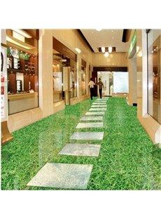 Green Realistic Design Footpath Pattern Waterproof Splicing 3D Floor Murals