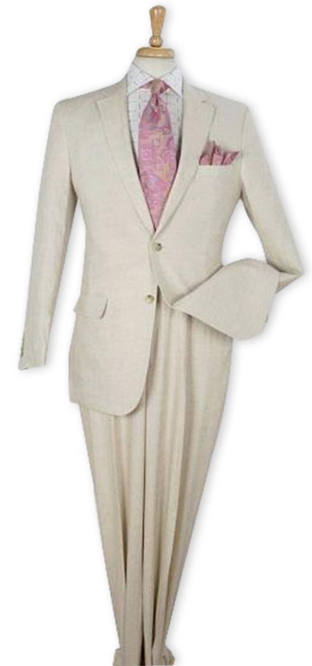 Men's Regular Fit 100% Linen Two Piece Suit Flat Front Pants