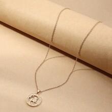 Constellation Symbol Design Round Charm Necklace