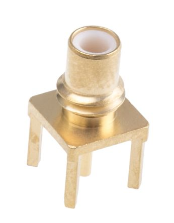Radiall Straight 50Ω Through Hole Coaxial Connector, jack, Gold, Solder Termination