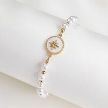 Star Decor Faux Pearl Beaded Bracelet
