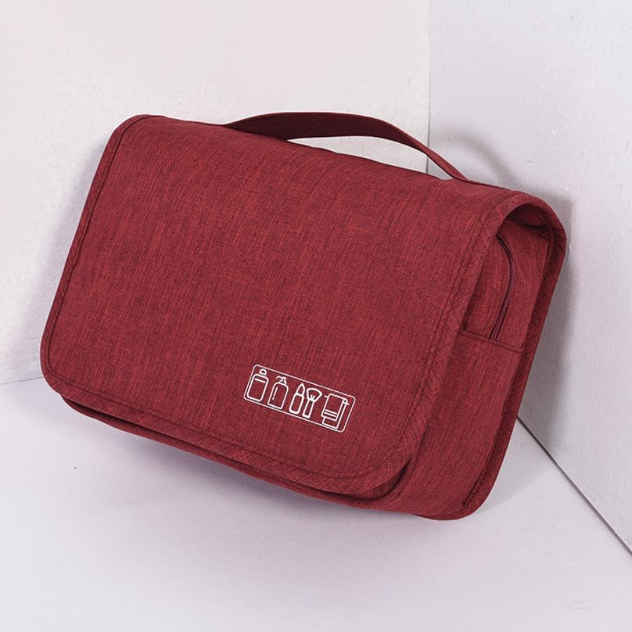 LW lovely Chic Print Zipper Design Wine Red Makeup Bag