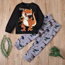 Toddler Boys Cartoon Dinosaur & Letter Graphic Sweatshirt With Sweatpants
