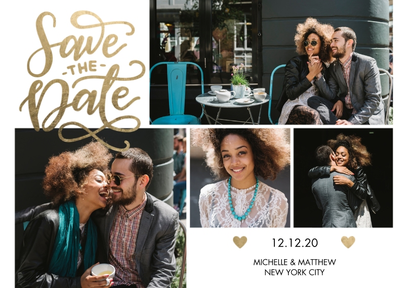 Save the Date 5x7 Cards, Premium Cardstock 120lb with Elegant Corners, Card & Stationery -Save the Date Tiny Hearts by Tumbalina