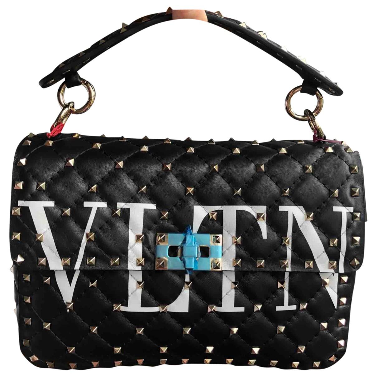 Valentino Garavani Rockstud spike Black Leather handbag for Women \N