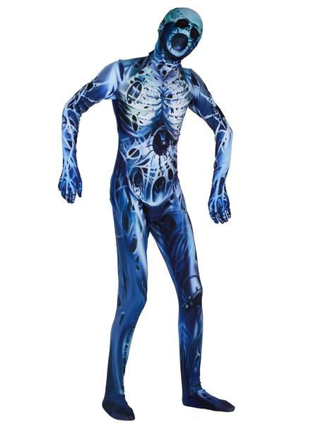 Milanoo Disfraz Halloween Disfraz de mono de leotardo con estampado de zombis de esqueleto de Halloween Carnaval Halloween