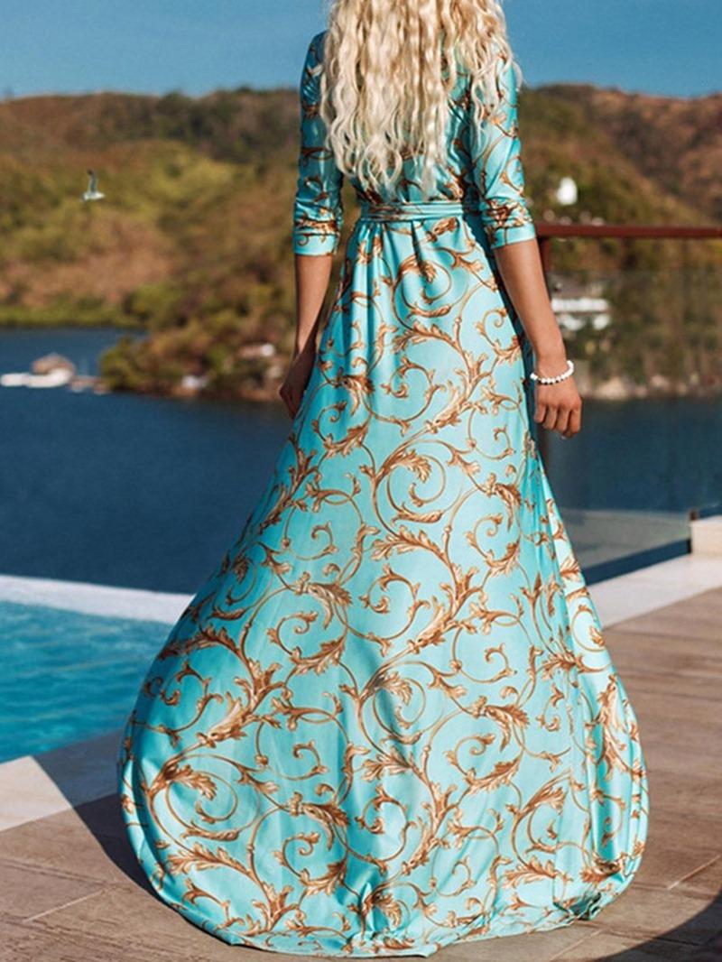 Ericdress Expansion Print V-Neck Floor-Length Floral Cocktail Dress