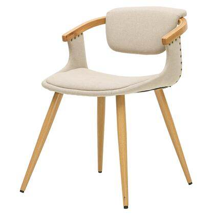 1160001-286N Darwin Collection 22 Chair with Bamboo Legs  Fabric Upholstery  Nail Head Accents and Wooden Arm Rest  in Stokes Linen