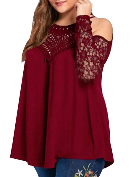Yoins Auxo Lace Patchwork Cold Shoulder Long Sleeves Tee